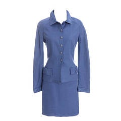Vintage Valentino Boutique Blue Linen 2 pc Skirt Suit