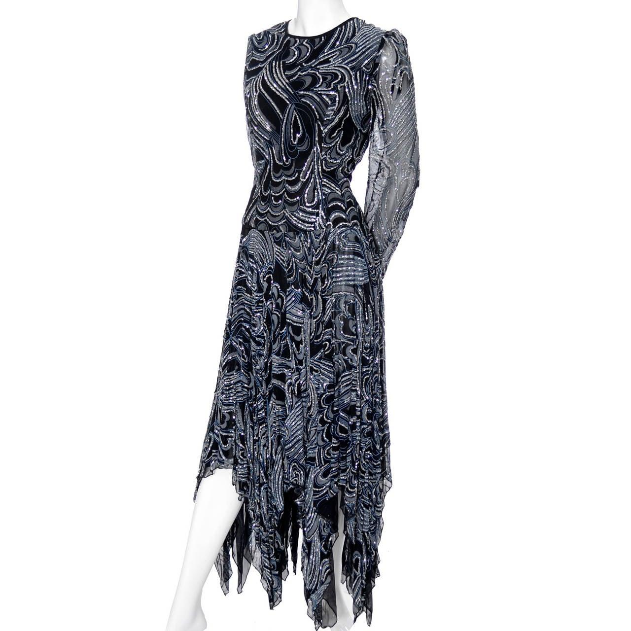 Women's 1980s Terence Nolder Vintage Dress w Handkerchief Hem in Metallic Sparkle Fabric For Sale