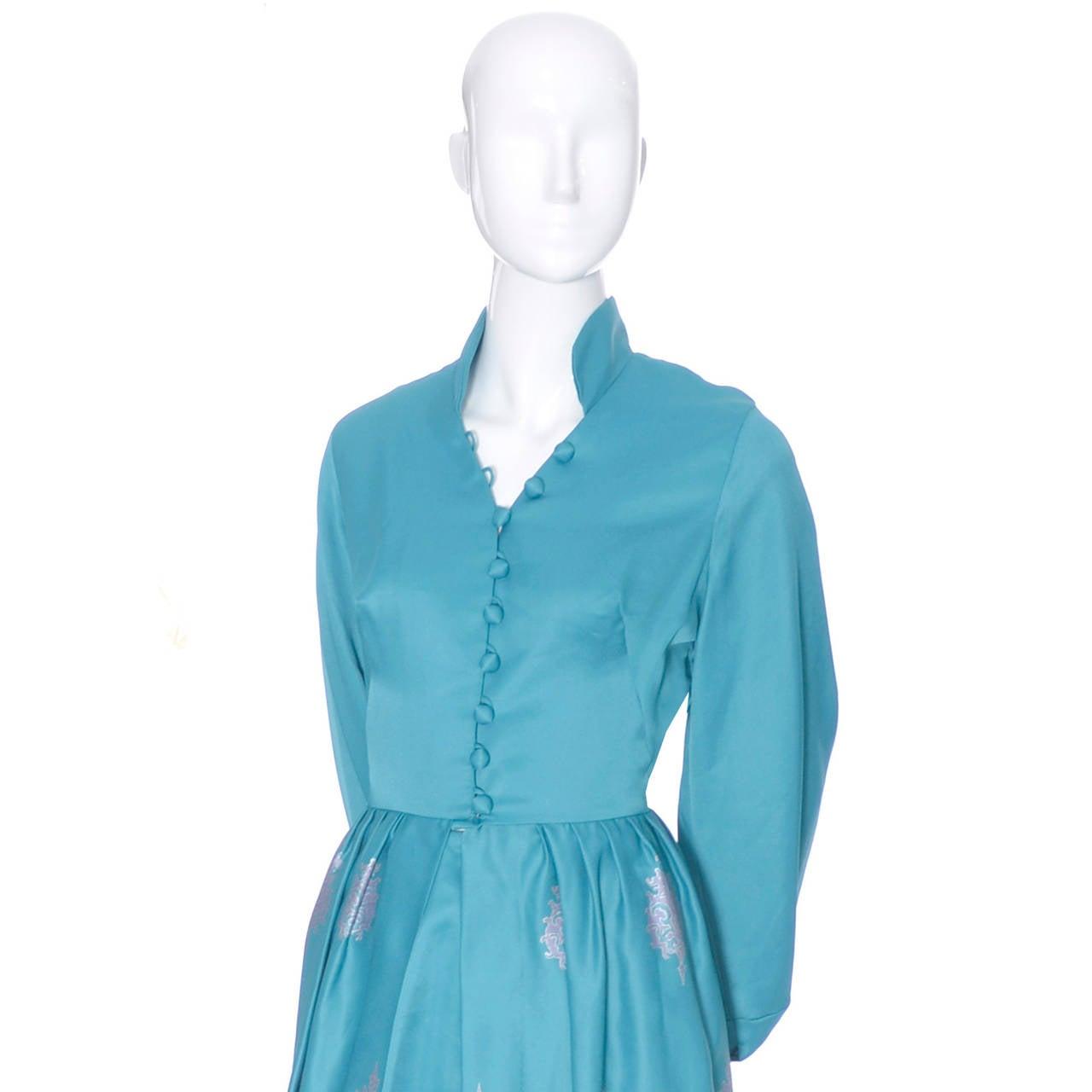 Blue Alfred Shaheen Master Printer Vintage 2 Pc Pants Evening Coat Ensemble For Sale
