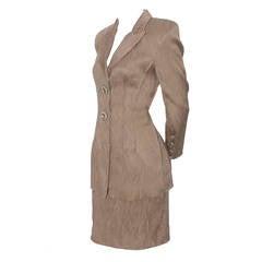 Badgley Mischka Vintage Evening Silk Skirt Suit Rhinestone Buttons Size 4