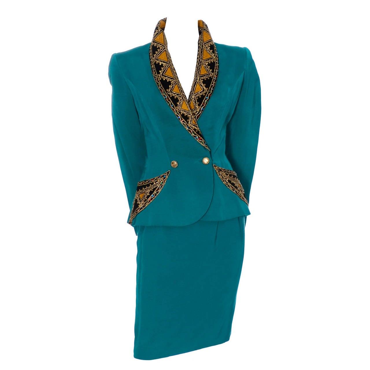 1980s Bob Mackie Vintage Metallic Embroidery Skirt Suit w/ Rhinestones & Studs