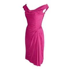 Vintage Ceil Chapman 1950s Pink Silk Chiffon Cocktail Party Dress Draping