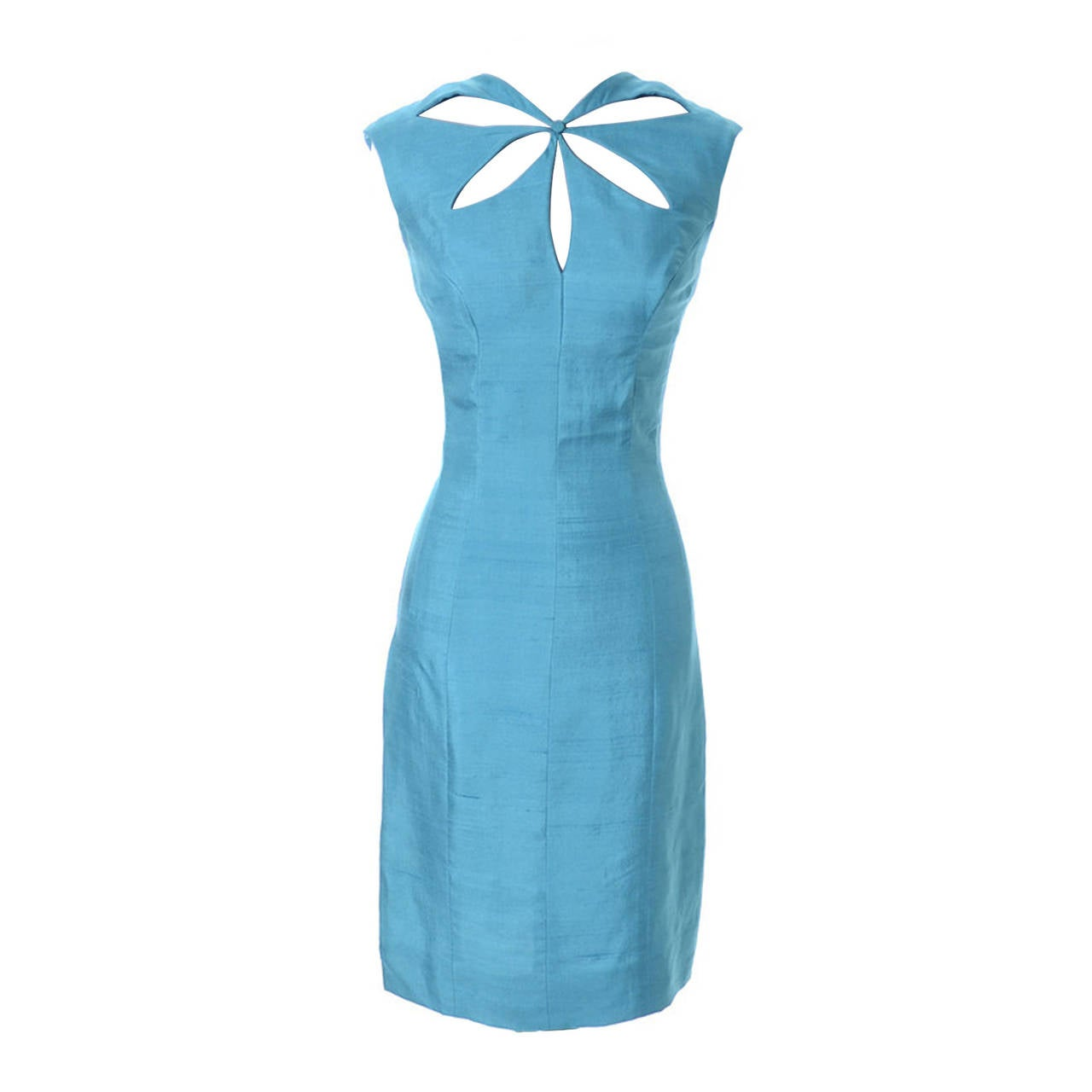 Blue Silk Vintage Estevez Designer Dress Keyhole 1960s 1