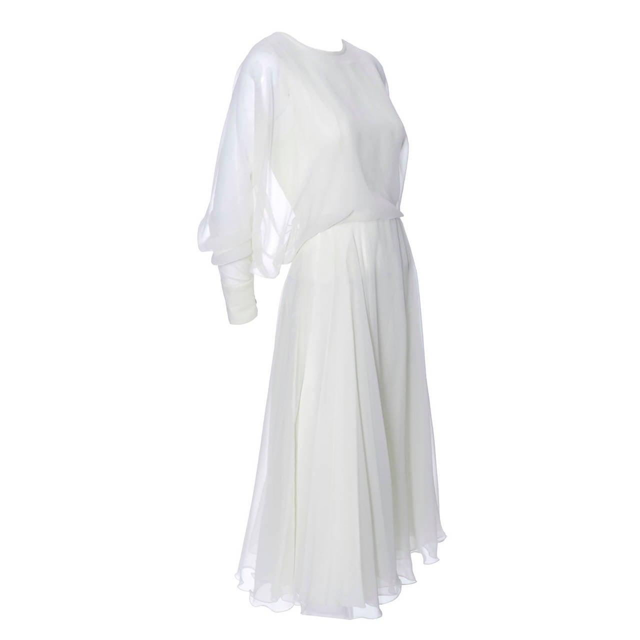 1970s Vintage Jean Varon John Bates Chiffon Designer Dress Batwing Sleeves For Sale
