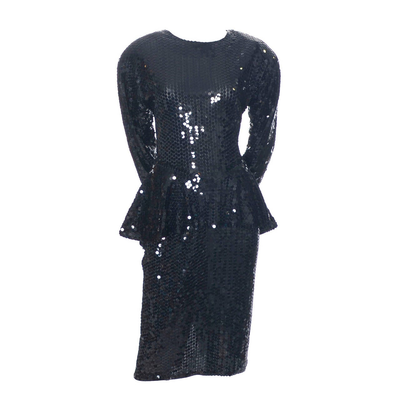 Oleg Cassini Vintage Dress Black Sequins Peplum 1980s Evening