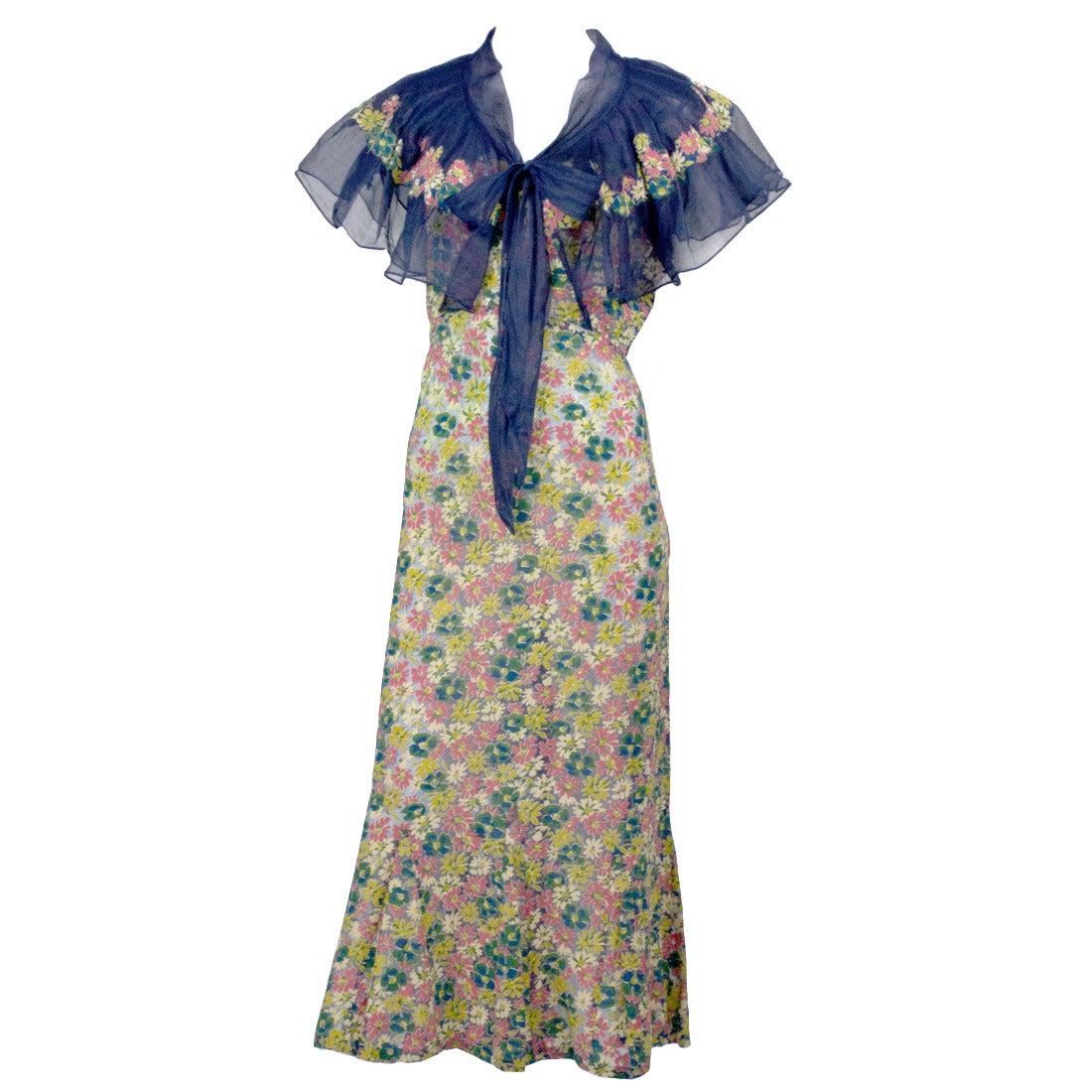 Rare 1930s Vintage Chanel Adaptation Dress Floral Velvet Applique Silk Organza 1