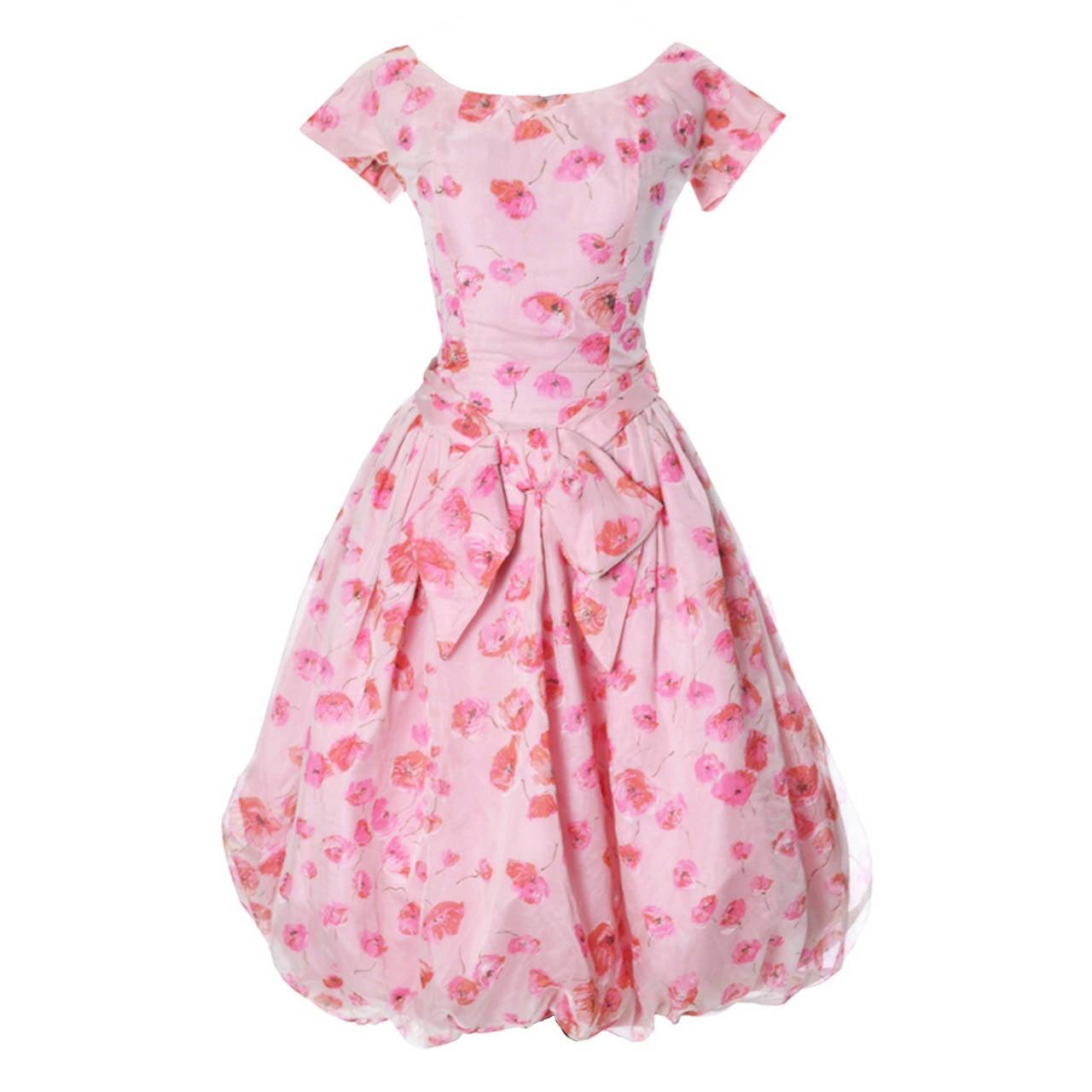 1950s Suzy Perette Vintage Dress Bubble Hem Pink Floral Organza Bow Party Frock 1
