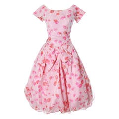 1950s Suzy Perette Vintage Dress Bubble Hem Pink Floral Organza Bow Party Frock