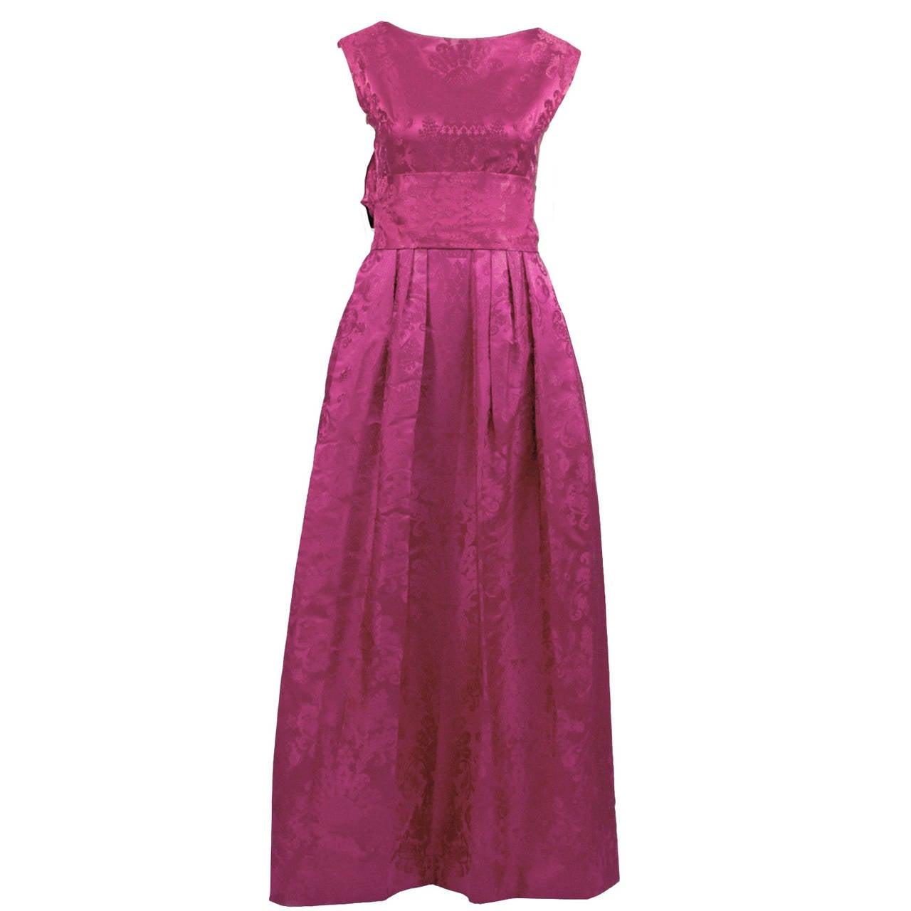 1950s Paris Vintage Dress Pink Satin Jacquard Formal Evening Gown at 1stdibs