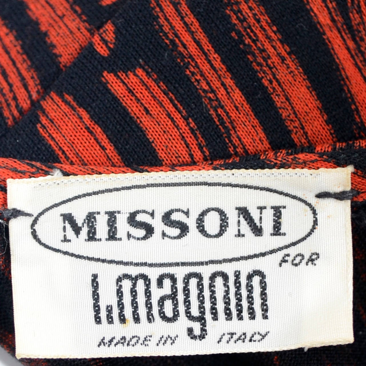 Vintage Missoni Dress I Magnin Abstract Red Black Print Peplum Italy For Sale 2