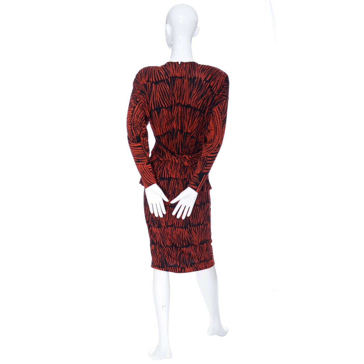 Women's Vintage Missoni Dress I Magnin Abstract Red Black Print Peplum Italy For Sale