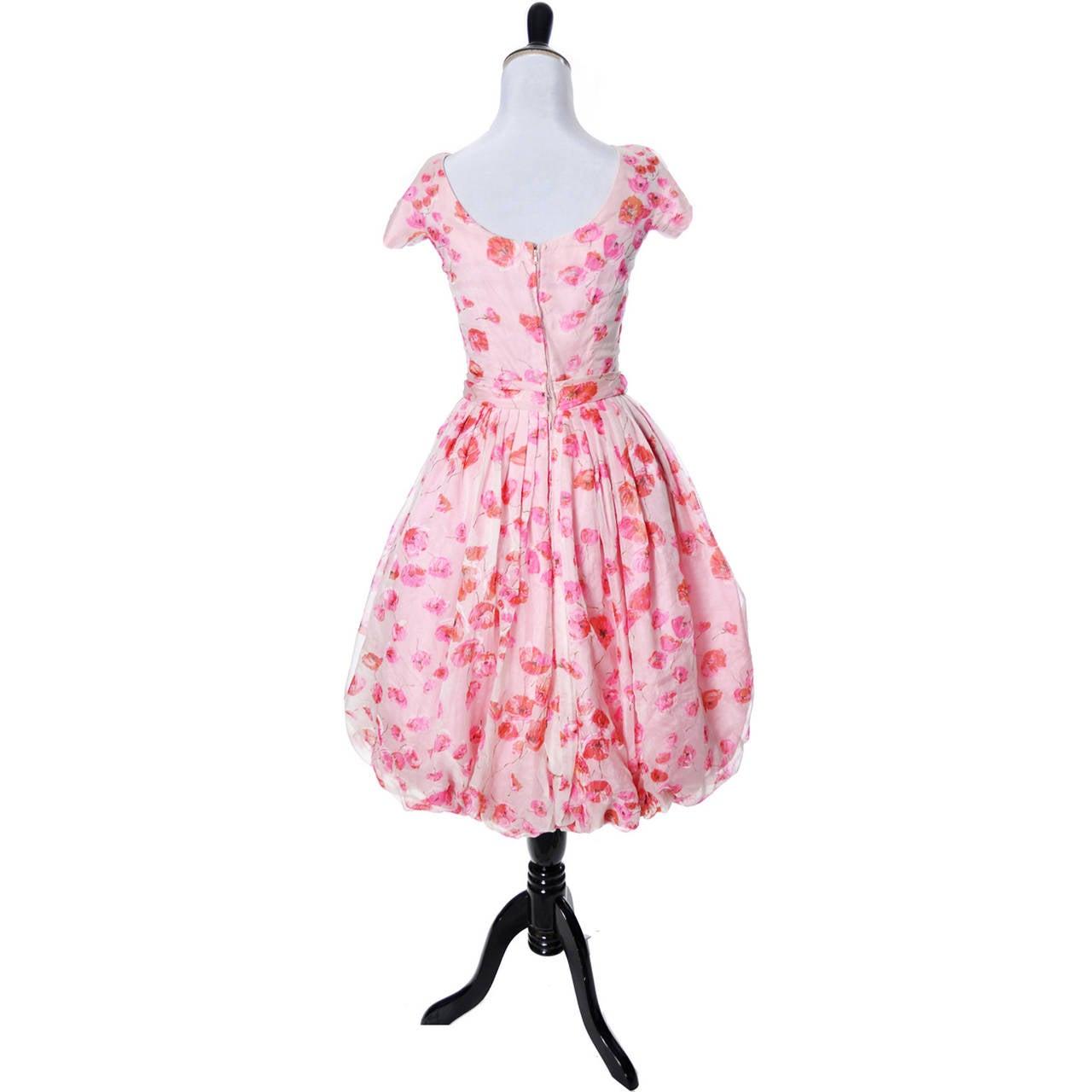 1950s Suzy Perette Vintage Dress Bubble Hem Pink Floral Organza Bow Party Frock 4