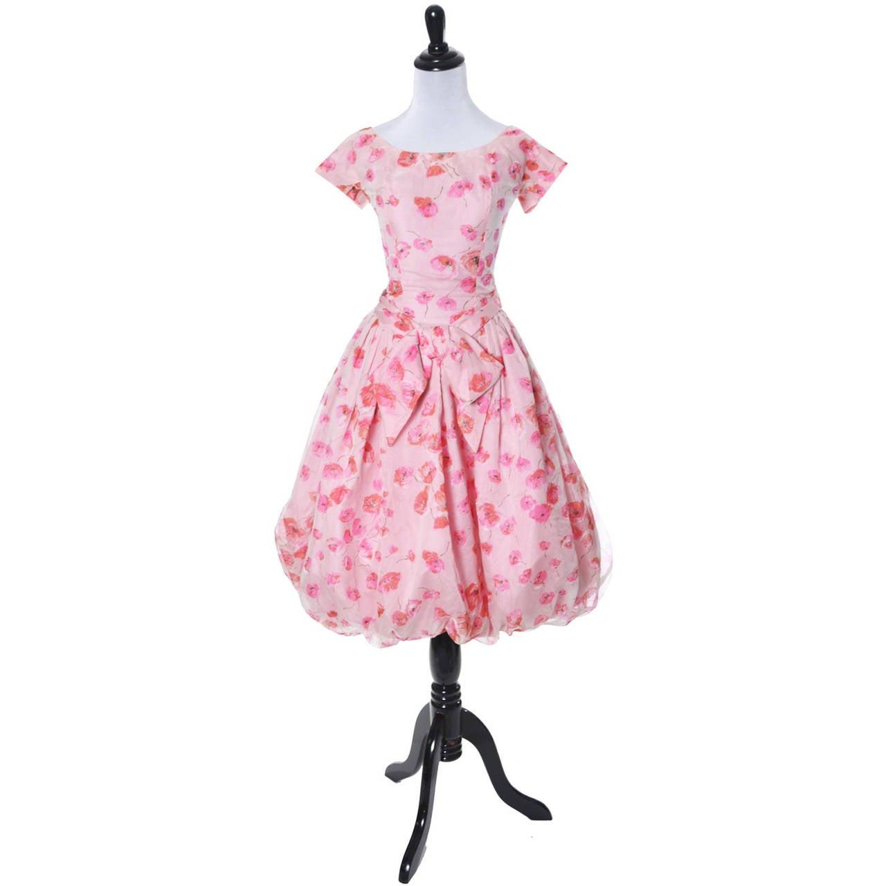 1950s Suzy Perette Vintage Dress Bubble Hem Pink Floral Organza Bow Party Frock 2