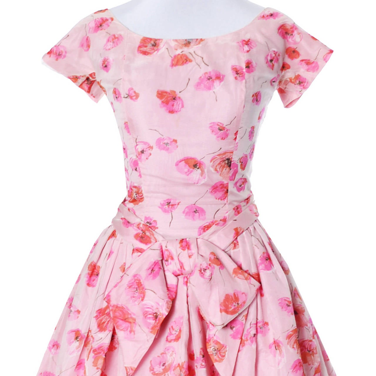 1950s Suzy Perette Vintage Dress Bubble Hem Pink Floral Organza Bow Party Frock In Excellent Condition For Sale In Portland, OR