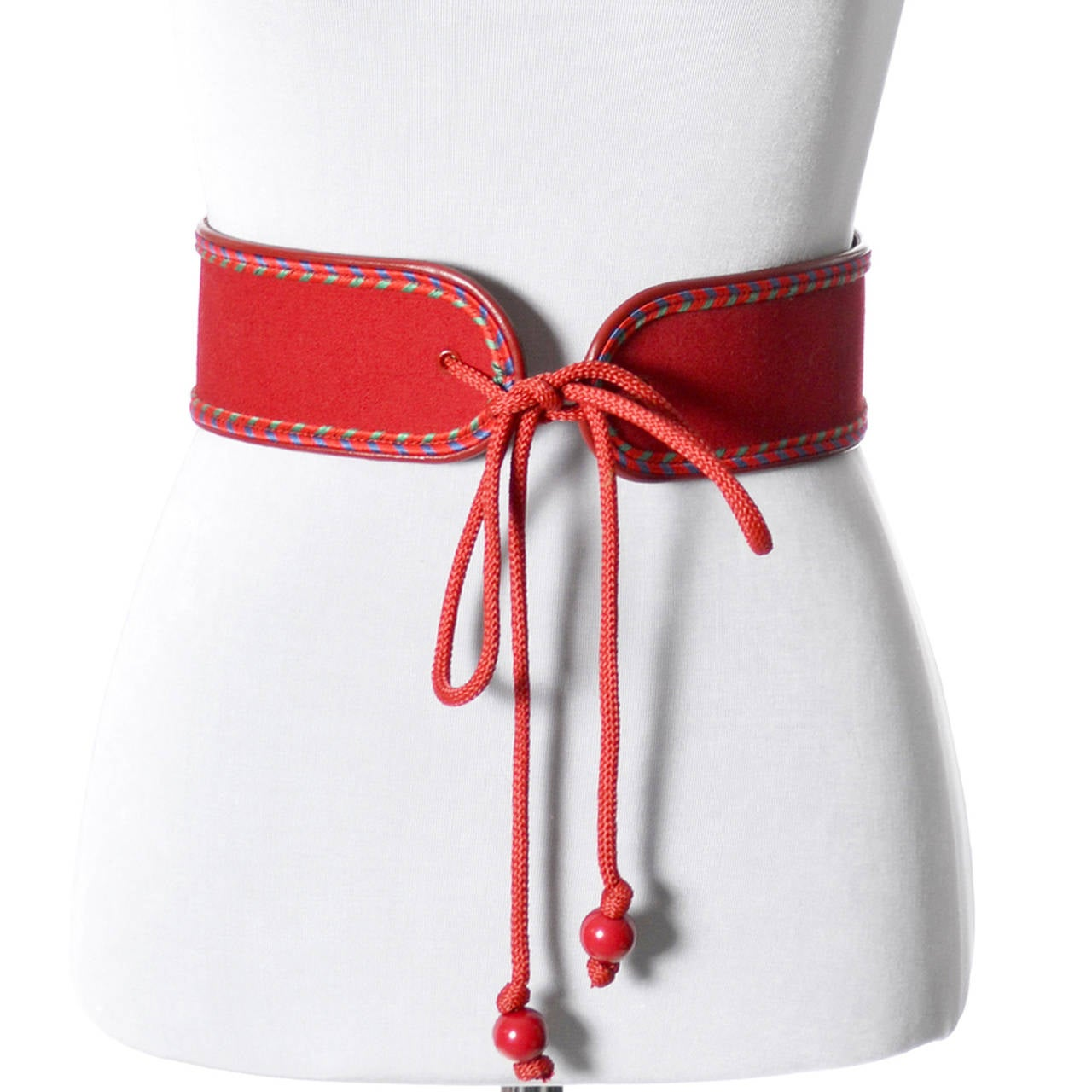Yves Saint Laurent Vintage YSL Red Corset Belt Russian Peasant Collection 3