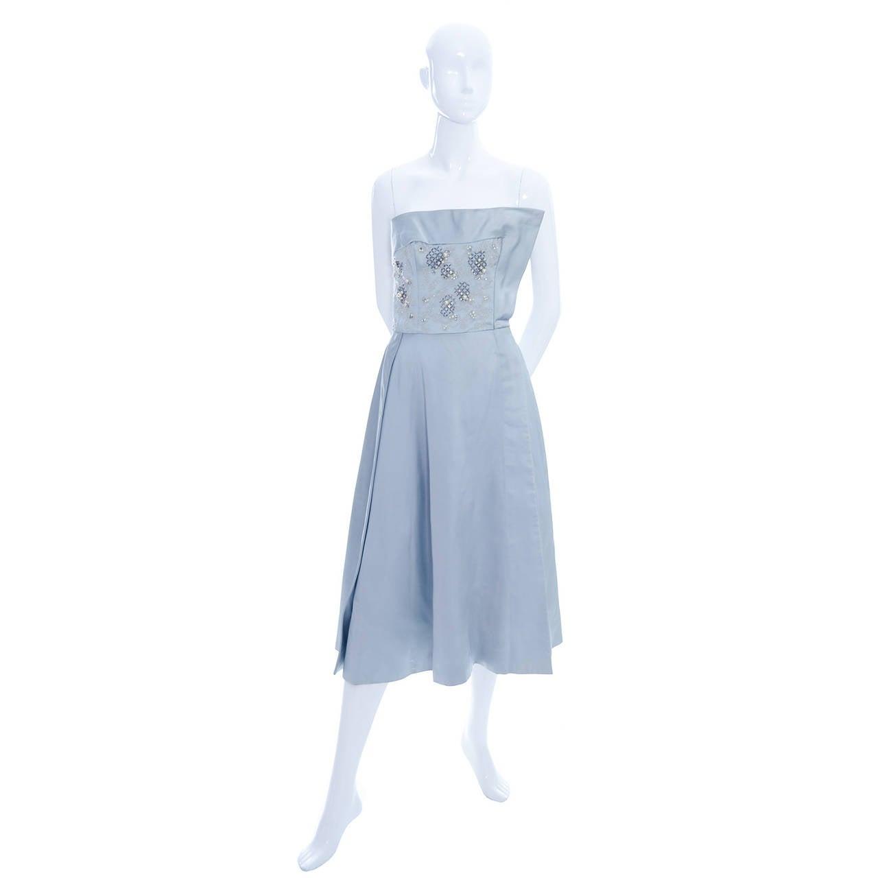 1950s Harvey Berin Karen Stark Vintage Dress in Blue Satin Beaded W Rhinestones In Excellent Condition For Sale In Portland, OR