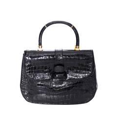 Lucille de Paris Rare Vintage Alligator Handbag Satchel 1950s Black