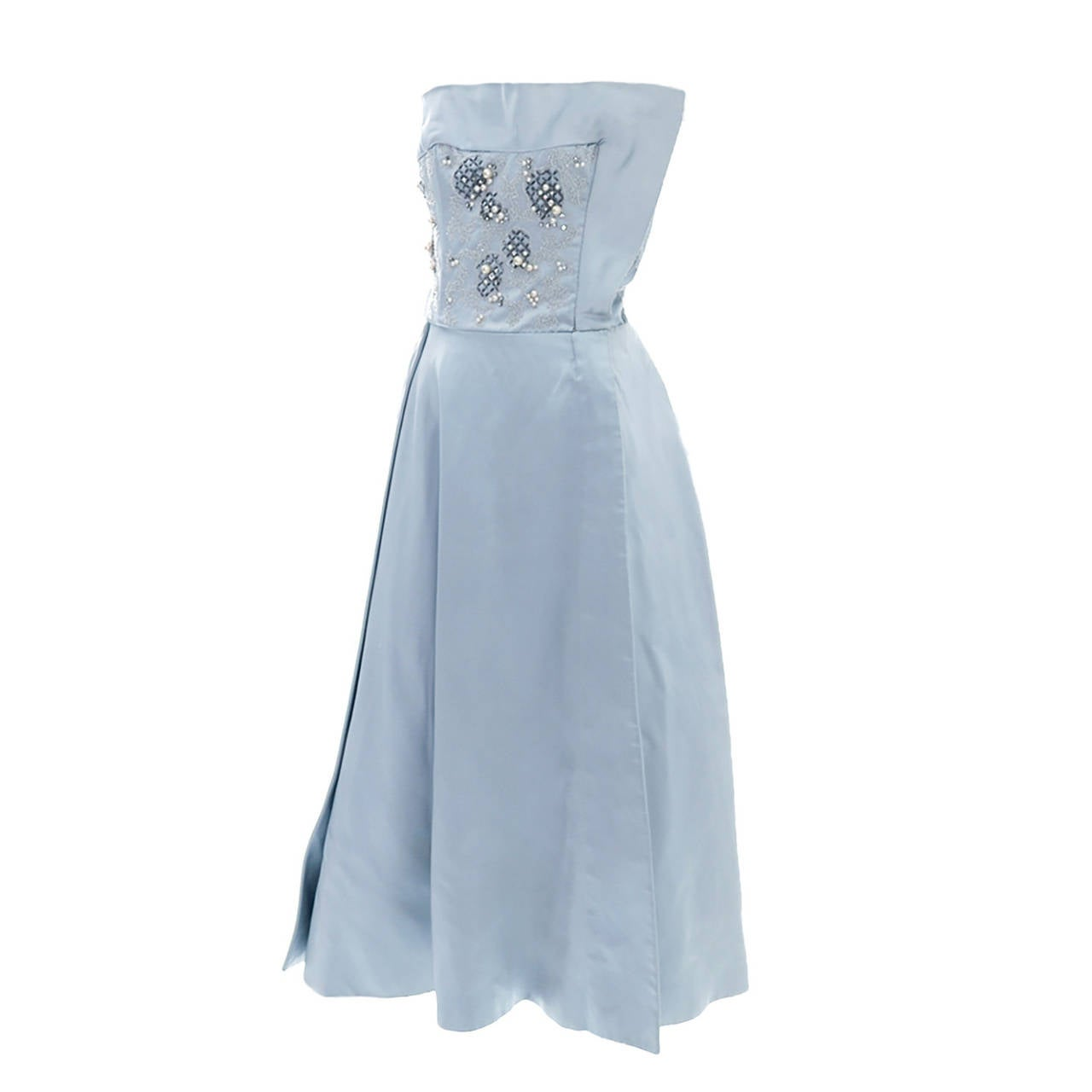 1950s Harvey Berin Karen Stark Vintage Dress in Blue Satin Beaded W Rhinestones