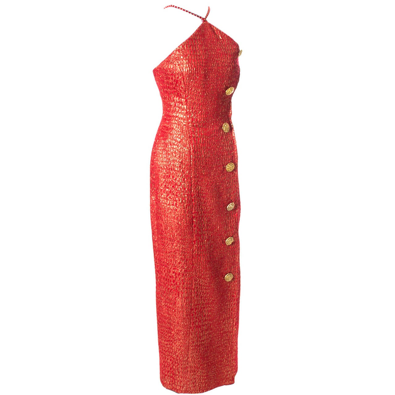a9497002bcef Norman Hartnell London Vintage Red Gold Dress Formal Evening Gown For Sale
