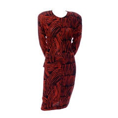Vintage Missoni Dress I Magnin Abstract Red Black Print Peplum Italy