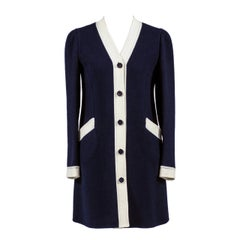 Rare 1960s Vintage Valentino Dress in Structured Navy Blue & White Wool