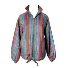 Yves Saint Laurent Rive Gauche Jacket Silk Striped Zip Front Vintage YSL France