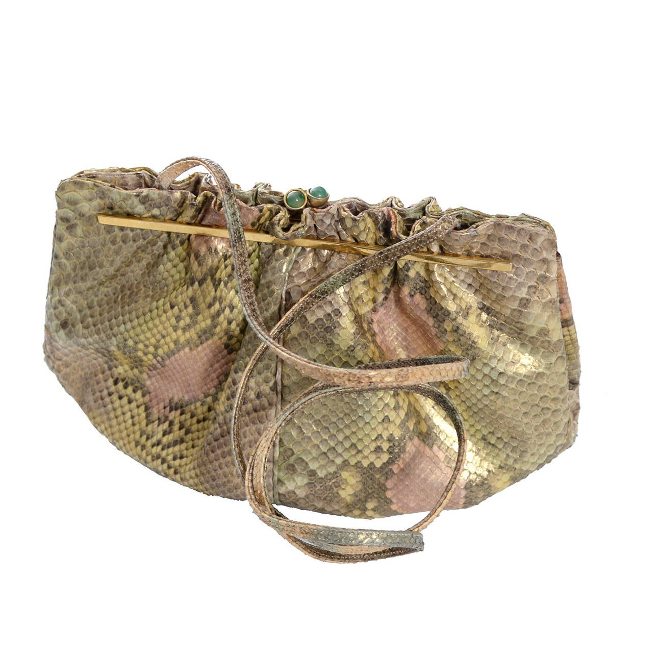Judith Leiber Vintage Python Snakeskin Handbag Jeweled Clasp Coin Purse Mirror In Excellent Condition For