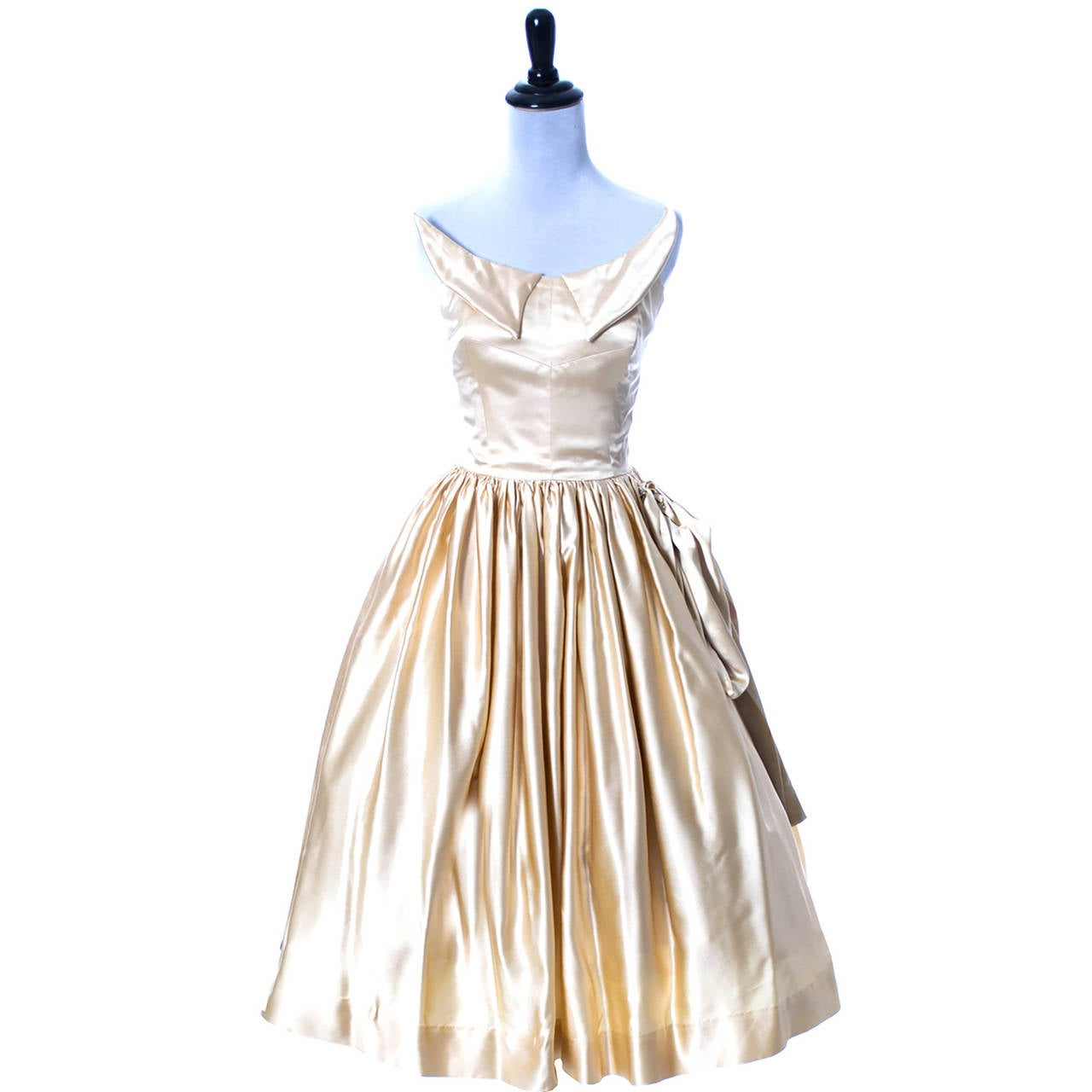1950s Vintage Dress Champagne Satin Winged Bust Wedding Peg Powers Original 7