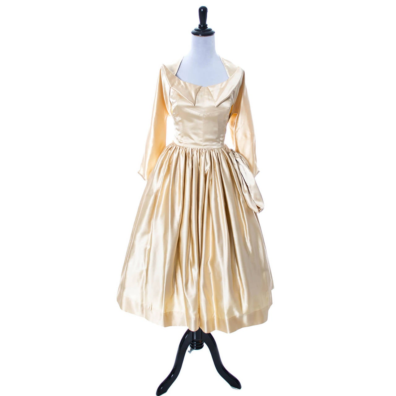 1950s Vintage Dress Champagne Satin Winged Bust Wedding Peg Powers Original 2