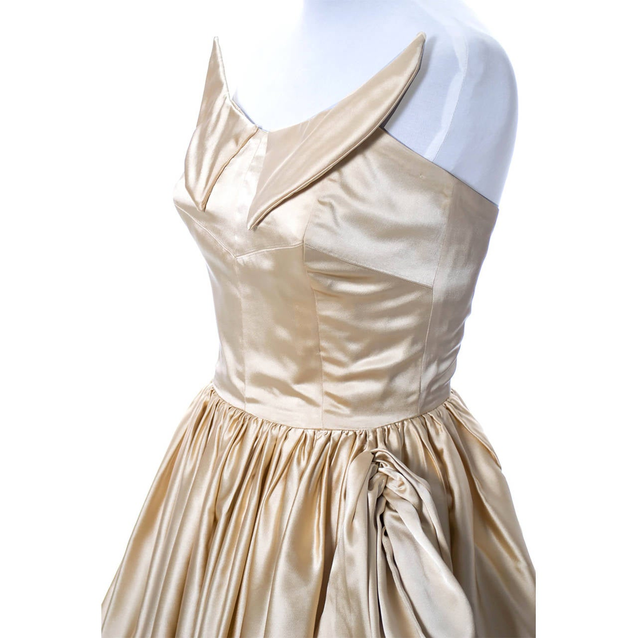 1950s Vintage Dress Champagne Satin Winged Bust Wedding Peg Powers Original 3