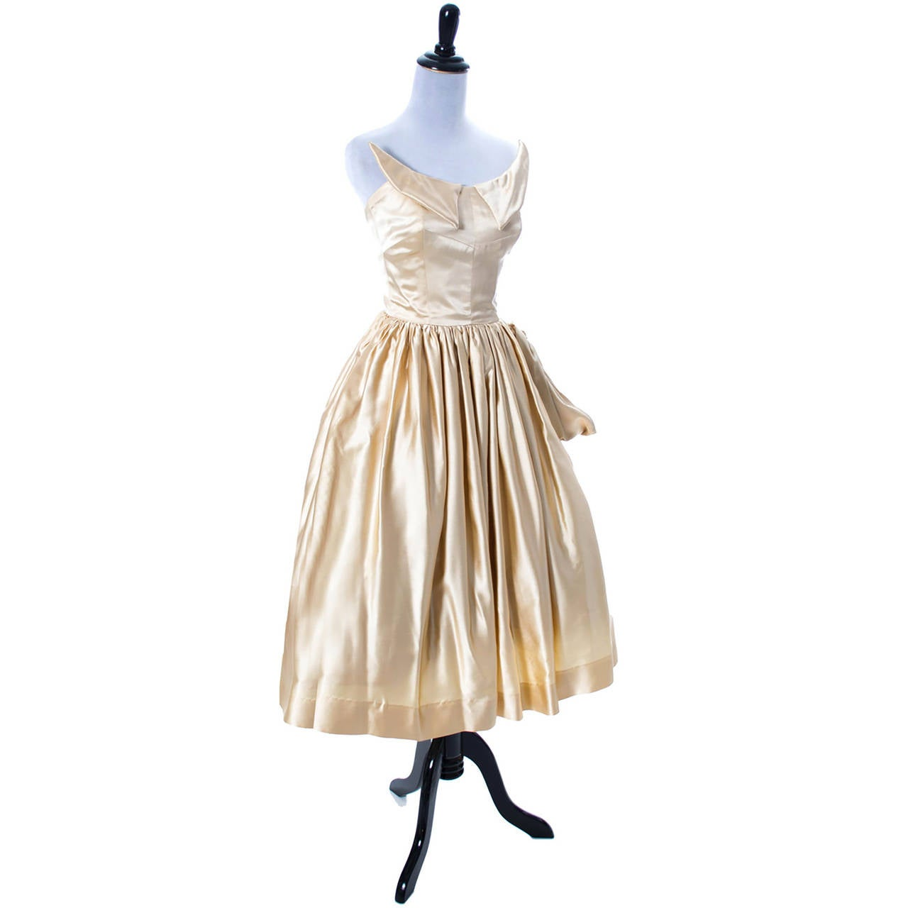 1950s Vintage Dress Champagne Satin Winged Bust Wedding Peg Powers Original 6