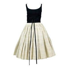 1960s Vintage Dress James Galanos Full Skirt 60s Full Circle Skirt