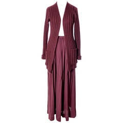 Vintage 1970s Missoni Maglia Burgundy Wool Knit Cardigan Sweater & Maxi Skirt