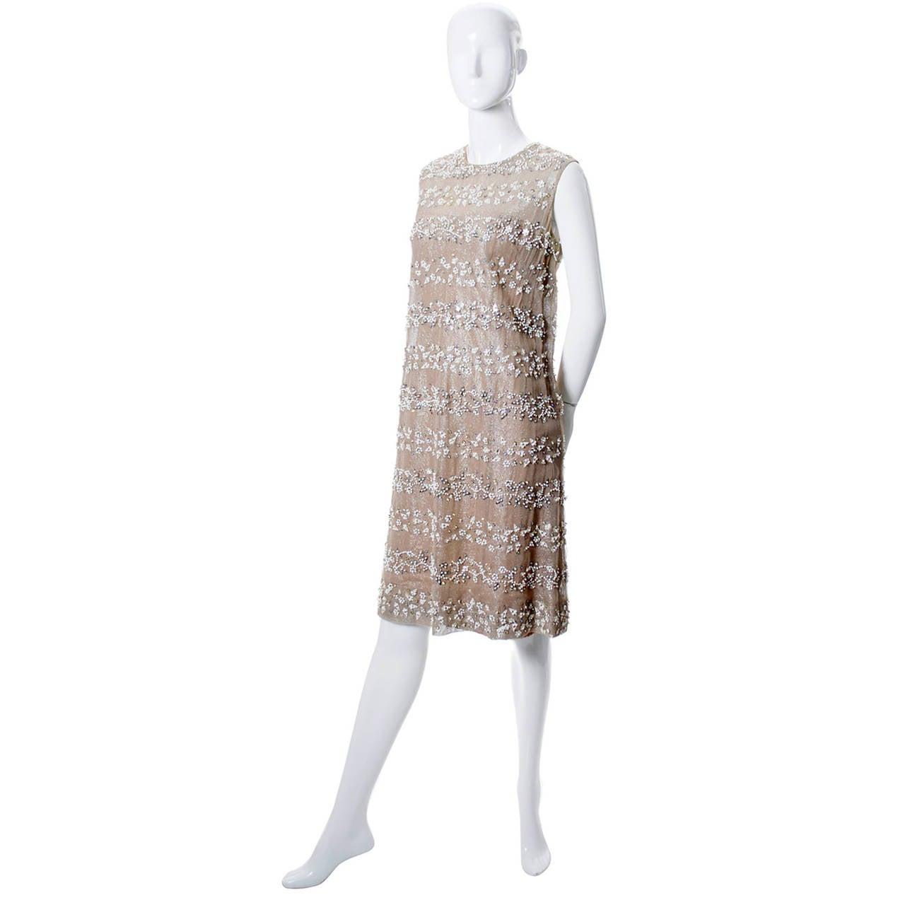 malcolm vintage dress beaded 1960s shift cocktail