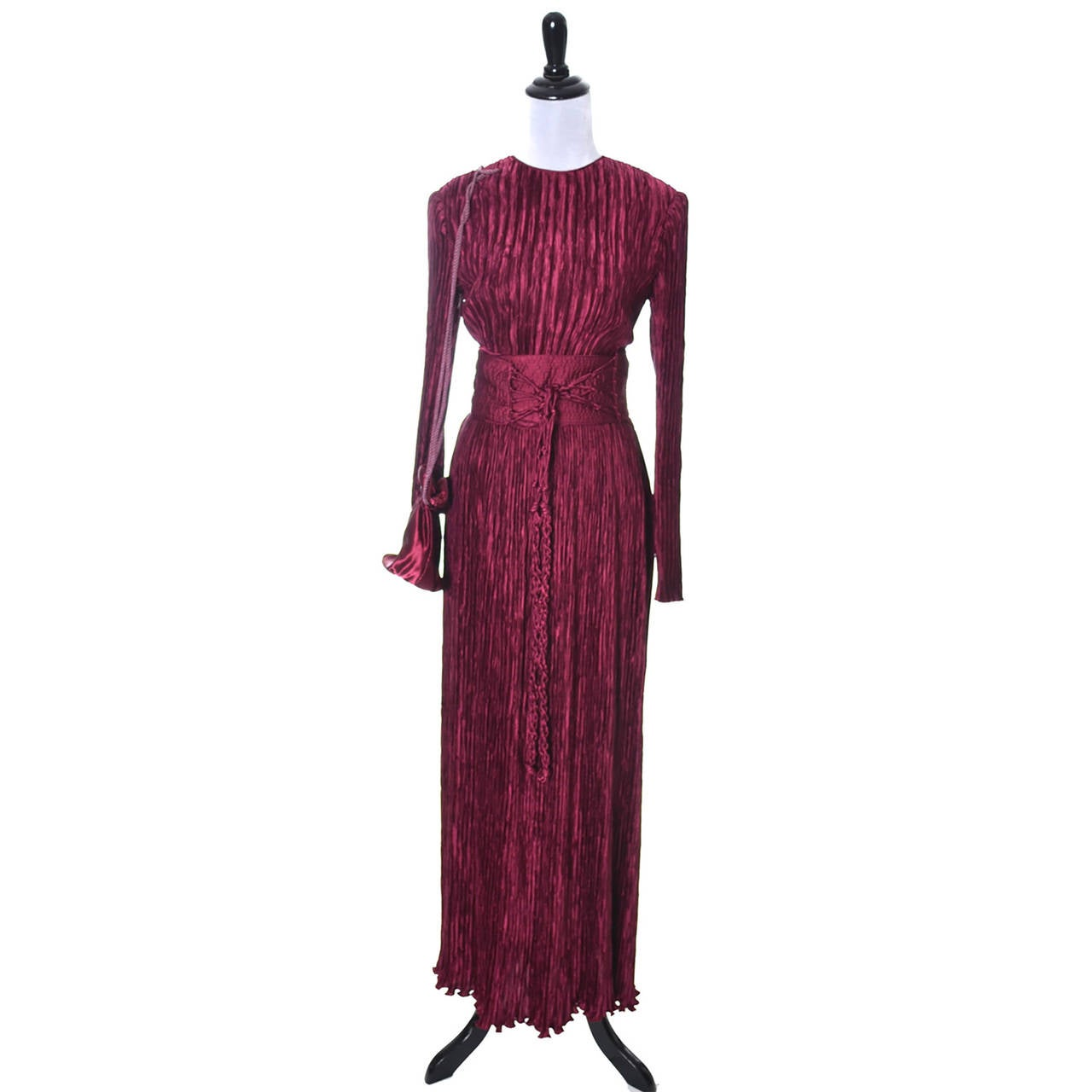 This Is A Gorgeous Red Wine Fortuny Style Pleated Evening Ensemble From Mary Mcfadden Couture Purchased