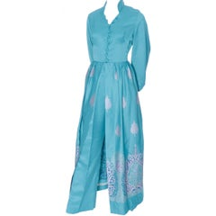 Alfred Shaheen Master Printer Vintage 2 Pc Pants Evening Coat Ensemble