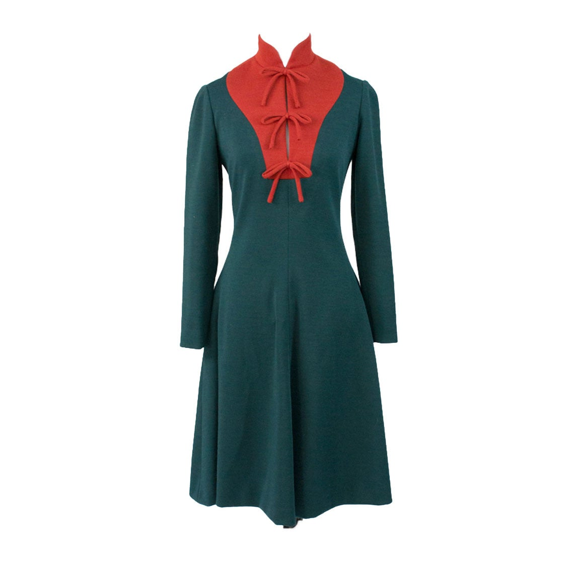 Geoffrey Beene Boutique Vintage Dress Red Green Early 1970s For Sale