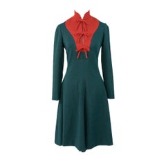 Geoffrey Beene Boutique Vintage Dress Red Green Early 1970s