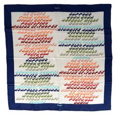 2 Loewe Vintage Silk Exotic Places World Traveler Scarves Brown Navy