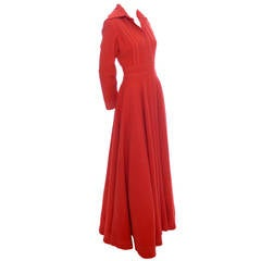 Jean Varon England John Bates Designer Red Vintage Dress