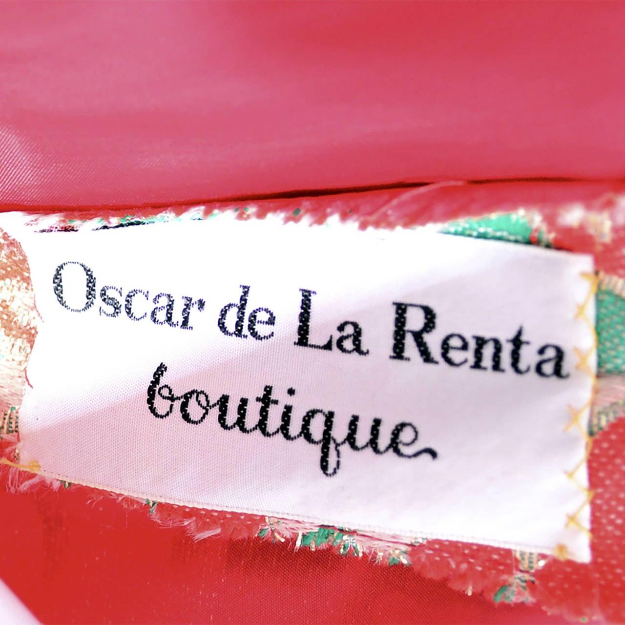 Oscar de la Renta Dress Boutique Vintage Dress 1960s Metallic Paisley Maxi For Sale 1