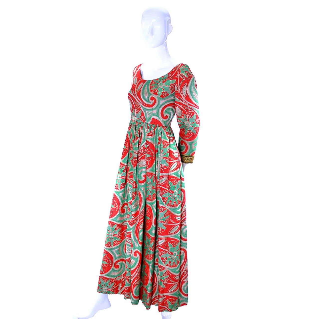 Brown Oscar de la Renta Dress Boutique Vintage Dress 1960s Metallic Paisley Maxi For Sale