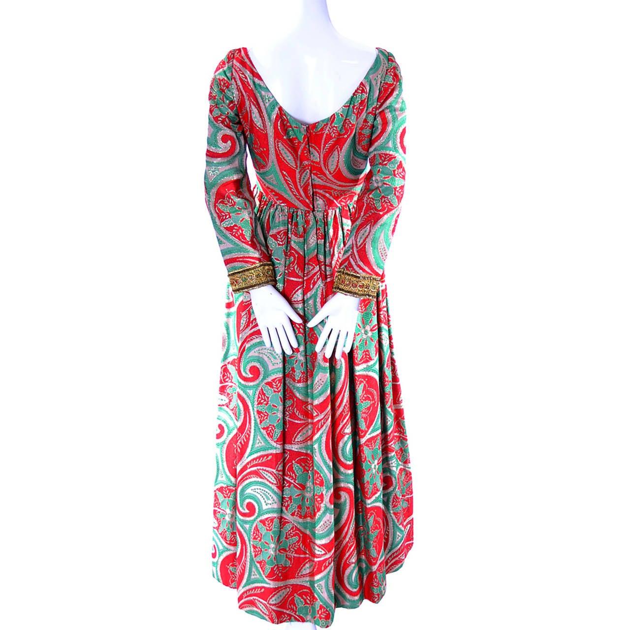Women's Oscar de la Renta Dress Boutique Vintage Dress 1960s Metallic Paisley Maxi For Sale