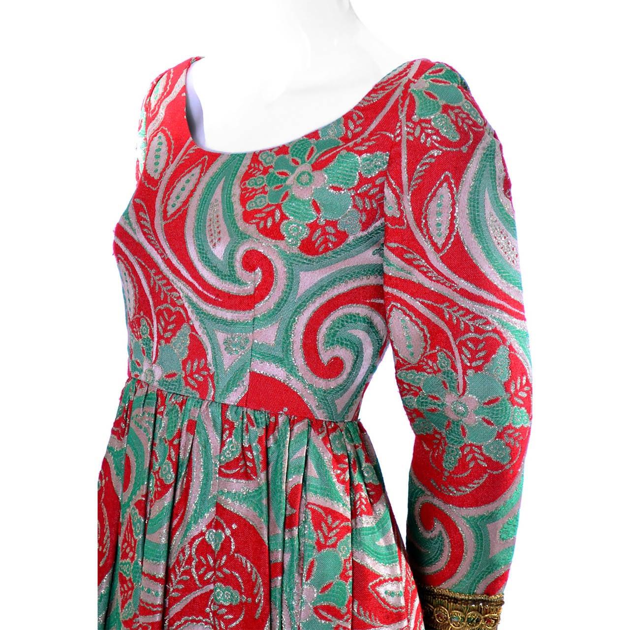 Oscar de la Renta Dress Boutique Vintage Dress 1960s Metallic Paisley Maxi In Excellent Condition For Sale In Portland, OR