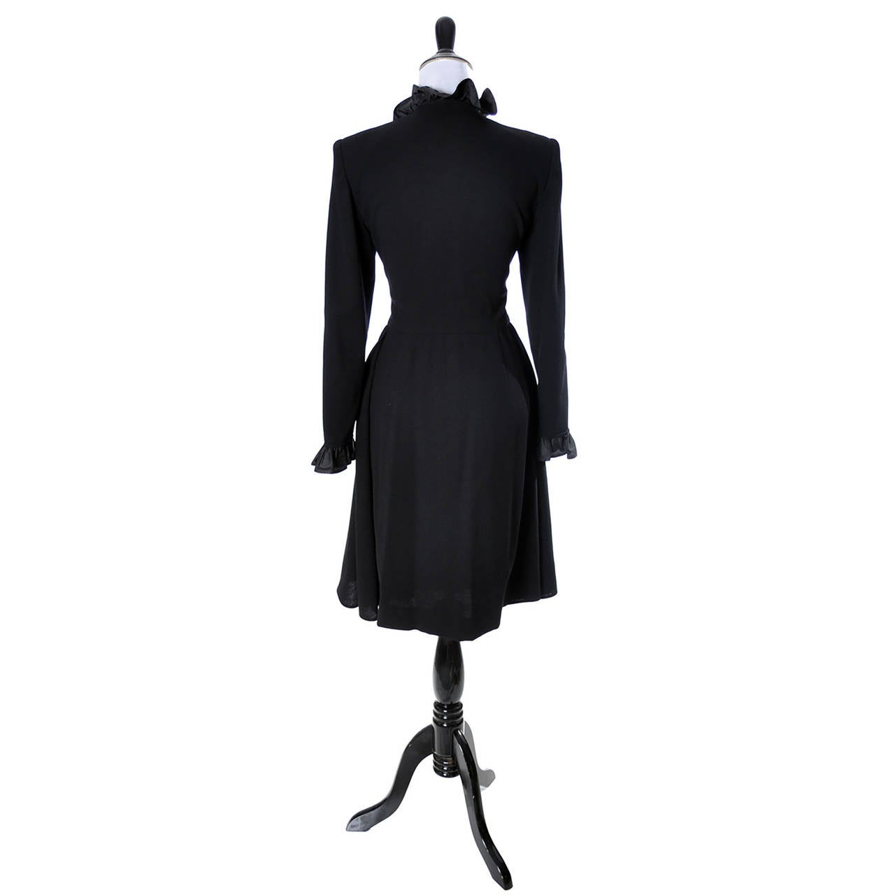 Vintage Valentino Black Wool Crepe Dress w/ Ruffled Taffeta Trim Size 6 For Sale 1