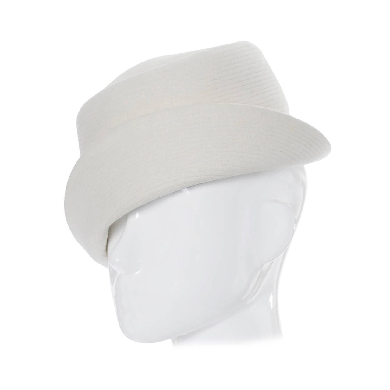 Mr John I Magnin Vintage Hat Winter White Wool Mod 1960s