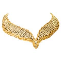 1950s Signed Hattie Carnegie Rhinestone twisted Choker Vintage Necklace