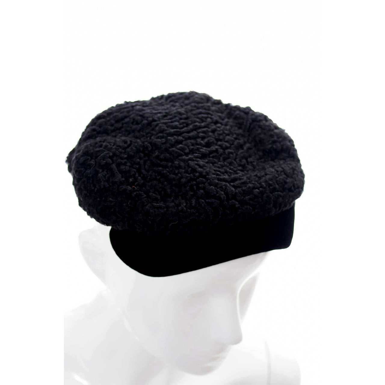 Black Hattie Carnegie Vintage Hat From I Magnin Curly Lambswool & Velvet Newsboy Cap  For Sale