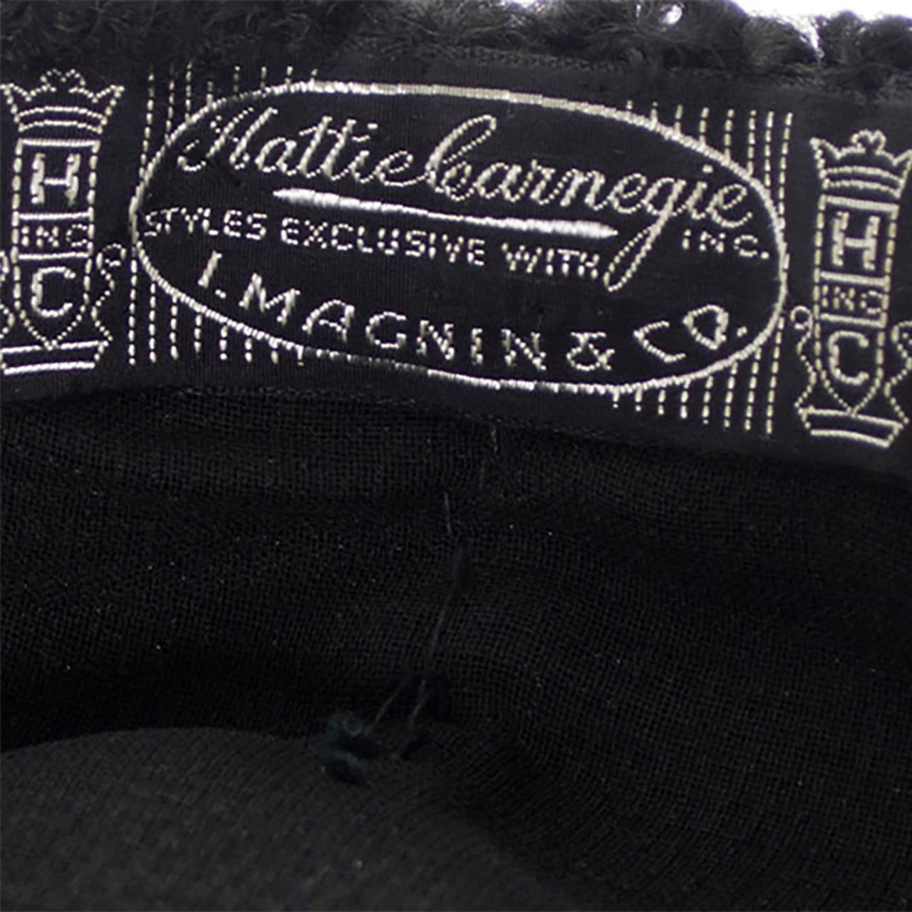 Hattie Carnegie Vintage Hat From I Magnin Curly Lambswool & Velvet Newsboy Cap  In Excellent Condition For Sale In Portland, OR