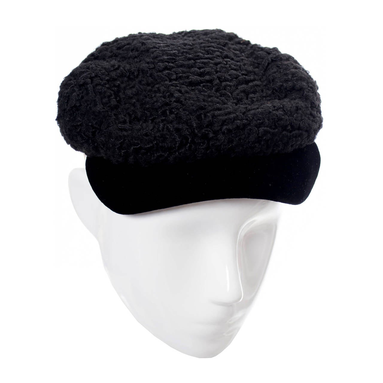 Hattie Carnegie Vintage Hat From I Magnin Curly Lambswool & Velvet Newsboy Cap  For Sale